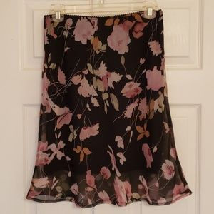 Connected Apparel silky floral skirt EUC